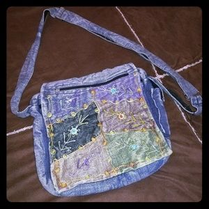 Denim messenger style crossbody